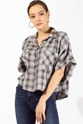 Twister Jeans Kadın Bayan Yarasa Kol Ekose Gömlek 19871 Grı