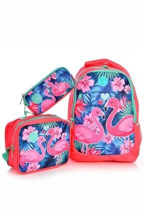 Yaygan Kids 14377 Flamingo Desenli Okul Sırt Çantası 3'lü Set Pembe