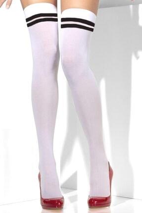 Hane14 Cool Siyah Çizgili Opak Diz Üstü Çorap Beyaz