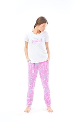 PJS PİJAMA 22133 Kadın Desenli Pijama Takım