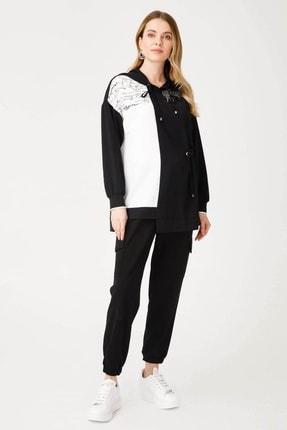 Moda İlgi Kadın Siyah Kapüşonlu Taş Detaylı Tunik