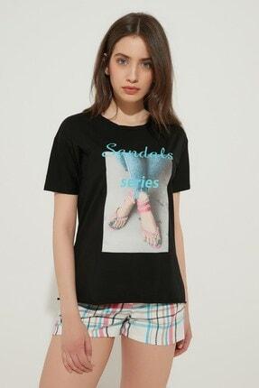 Zindi Kadın Sandalet Desenli Taşlı T-shirt Siyah