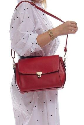 Fume London Kırmızı Kadın Bölmeli Fermuarlı Kapaklı Askılı Çanta Fb3002