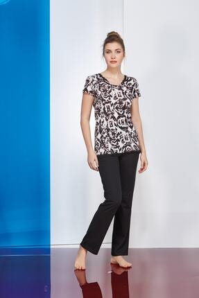 PJS PİJAMA Kadın Siyah Pijama Takımı 2'li