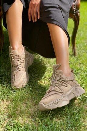 İnan Ayakkabı BAYAN NUDE SÜET FİLE SNEAKER SPOR AYAKKABI Y1111