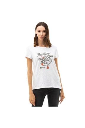 Nautica Nautıca Kadın Relaxed Fit Beyaz T-shirt