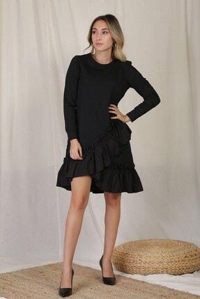 Zindi Kadın Volanlı Elbise Siyah