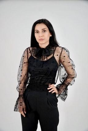 Lila Rose Kadın Siyah Kalpli Flok Baskılı Tül Bluz