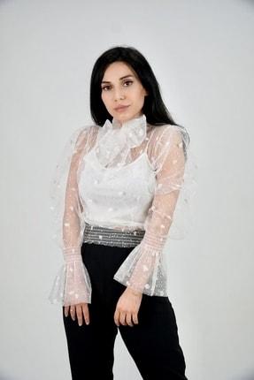 Lila Rose Kadın Beyaz Kalpli Flok Baskılı Tül Bluz