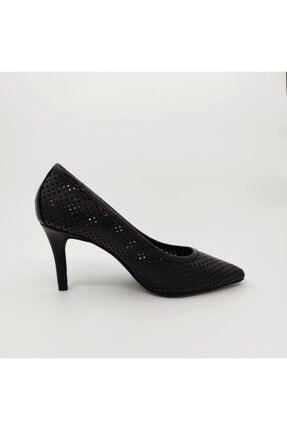 Dericlub 401 Siyah Ferforje Kadın Topuklu Ayakkabı