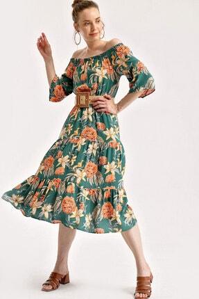 Bigdart 1710 Omuz Lastik Desenli Elbise