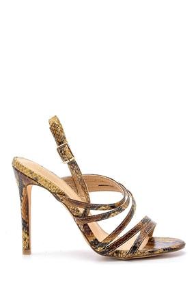 Derimod Kadın Yılan Derisi Desenli Topuklu Sandalet