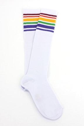 Hane14 Unisex Beyaz Renkli Çizgili Diz Altı Pamuklu Spor Çorap