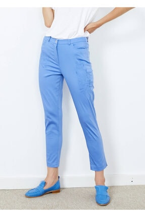 Cazador Kadın Mavi Desenli Cepli Pantalon