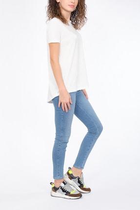Dilvin - One Of Giz - Kadın Ekru Bisiklet Yaka Basic %100 Pamuk T-shirt