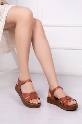 Deripabuc Hakiki Deri Taba Kadın Deri Sandalet Dp-1014