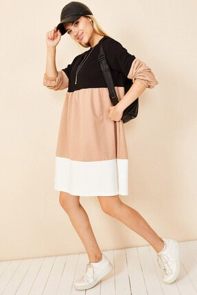 Morpile Renk Bloklu Elbise