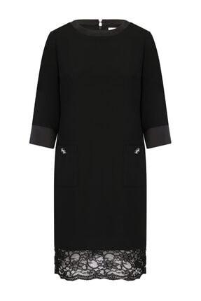 W Collection Siyah Yuvarlak Yakalı Elbise