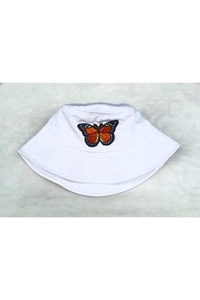 Köstebek Turuncu Kelebek Big Bucket Şapka