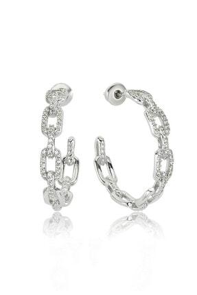 Valori Jewels Zincir Modeli, Swarovski Zirkon Beyaz Taşlı, Gümüş Küpe