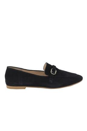 Hobby Siyah Süet Deri Kadın Babet Ayakkabı 103