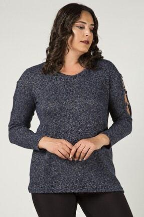 Womenice Büyük Beden Lacivert Kolları Halkalı Triko Bluz