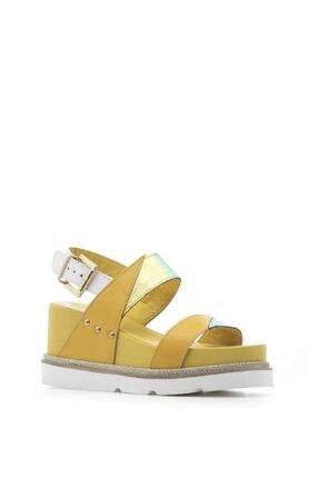 İlvi Bren Bayan Sandalet Sarı-beyaz-renkli Desen