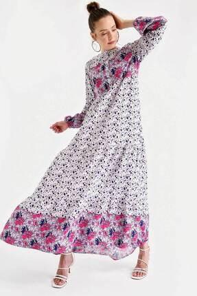 Bigdart 1943 Çiçek Desen Etek Ucu Valanlı Elbise