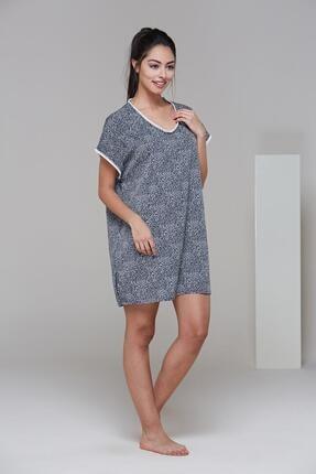 PJS PİJAMA 21475 Kadın Desenli Yandan Yırtmaçlı Elbise