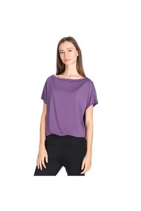 Sportive Polcrop Kadın Mor Günlük Stil Tişört 710726-mor