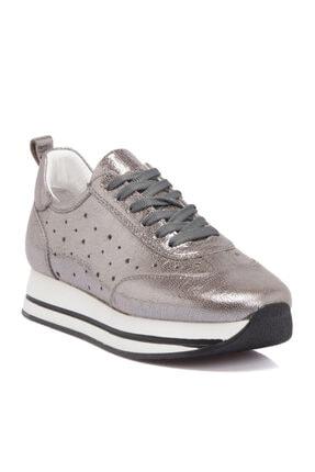 Tergan Gri Deri Kadın Ayakkabı 64247b43