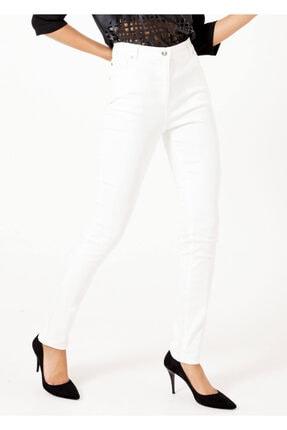 Cazador Kadın Beyaz 5 Cepli Dar Paça Jean Pantalon Ekru 44