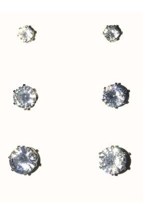 Accessories 3 Adet Gümüş Tek Taş Modeli Zirkon Taşlı Gümüş Küpe Set