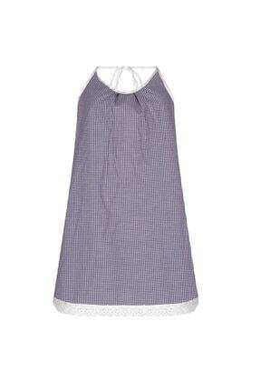 GTNight Lacivert Beyaz Kareli Boyundan Bağlamalı Elbise