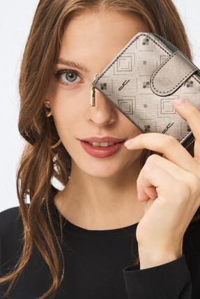 Deri Company Kadın Basic Mini Cüzdan Monogram Desenli Gümüş Siyah (8025g) 213017