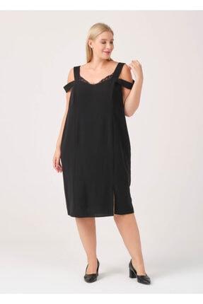 Cazador Kadın Siyah Yaka Dantel Detaylı Kolsuz Elbise