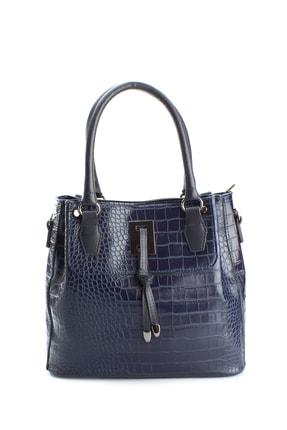 Housebags Kadın Lacivert Üç Ayrı Bölmeli Kroko Omuz Çanta 933