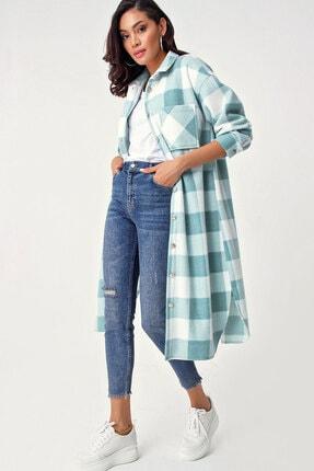Bigdart 5805 Ekose Desen Uzun Oversize Tunik