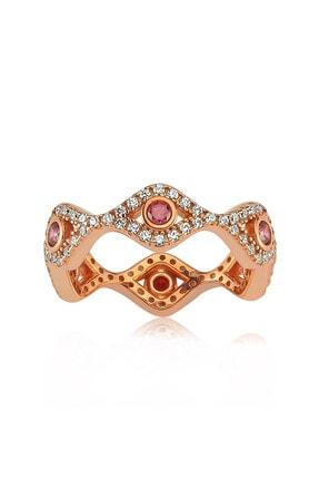 Valori Jewels Mini Nazar Gözü, Swarovski Zirkon Kırmızı Ve Beyaz Taşlı, Rose Gümüş Tamtur Yüzük