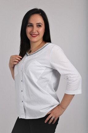 Günay Kadın Bluz Lm23150 Ilkbahar Yaz V Yaka Detay Truvakar-beyaz