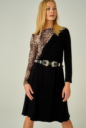 Boutiquen 2032-siyah Leopar Garnili Uzun Kollu Elbise-11j