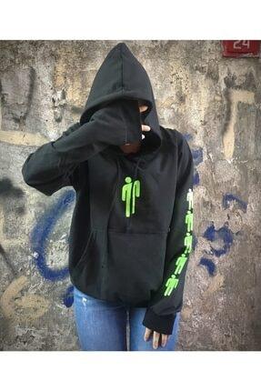 Köstebek Billie Eilish Logo Siyah Üzeri Yeşil Baskı (Unisex) Kapşonlu