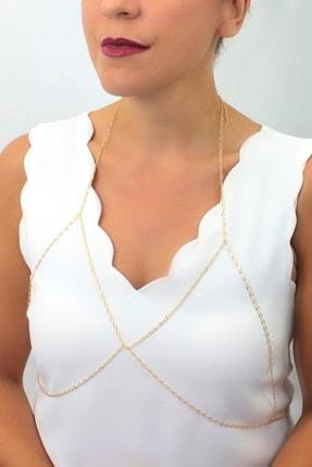 Hane14 Romantic Özel Tasarım Ince Zincirli Vücut Takısı Gold