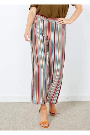 Cazador Kadın Ekru Çizgili Yırtmaç Detaylı Pantolon