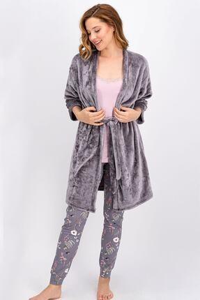 Arnetta Açık Gri Daisy Daydreamer Kadın 3 Lü Pijama Takımı