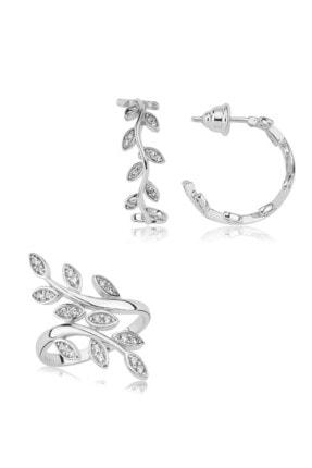Valori Jewels Dönen Yaprak, Swarovski Zirkon Beyaz Taşlı, Gümüş Set