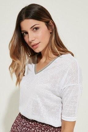 Zindi Kadın V Yaka T-shirt Ekru