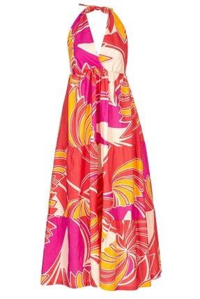 GTNight Mercan Yaprak Desenli Elbise