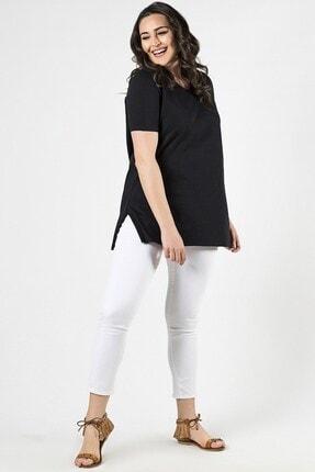 Womenice Büyük Beden Siyah Yırtmaçlı Bluz