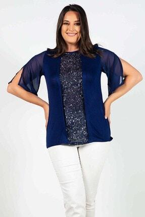 Womenice Büyük Beden Lacivert Önü Pullu Kolları Yırtmaçlı Bluz